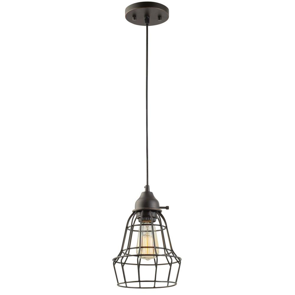 Globe Electric 1 Light 7 In Oil Rubbed Bronze And Black Vintage Hanging Caged Pendant