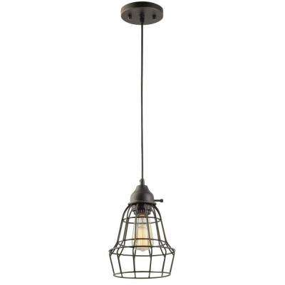 1-Light 7 in. Oil Rubbed Bronze and Black Vintage Hanging Caged Pendant