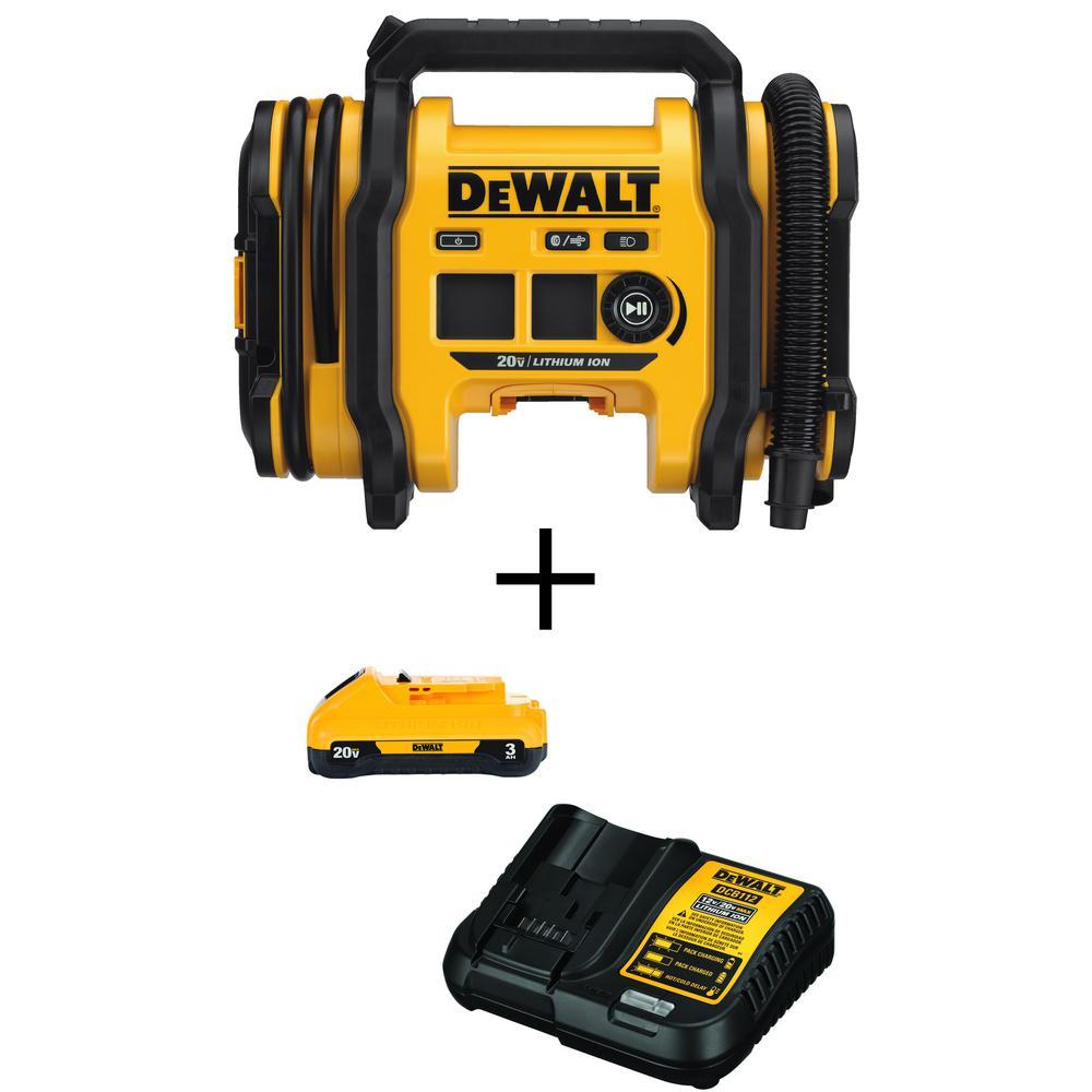 Deals on DeWalt 20-Volt MAX Inflator w/Battery 3.0 Ah and Charger