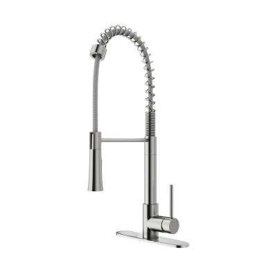 Laurelton Single-Handle Pull-Down Sprayer Kitchen Faucet with Deck Plate in Stainless Steel