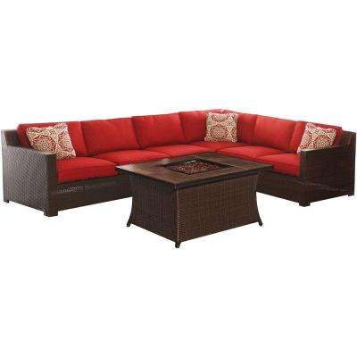 Metropolitan 6-Piece All-Weather Wicker Patio Fire Pit Seating Set with Autumn Berry Cushions and Wood Grain Tile Table