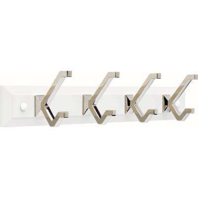 Modern Decorative 19 in. Warm Gray and Polished Nickel Hook Rack