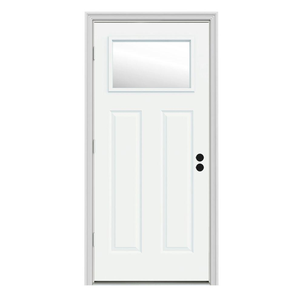 Jeld Wen 30 In X 80 In 1 Lite Craftsman White Painted Steel Prehung Right Hand Outswing Front