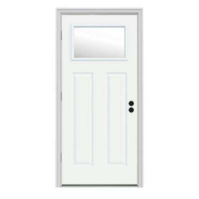 30 in. x 80 in. 1 Lite Craftsman White Painted Steel Prehung Right-Hand Outswing Front Door w/Brickmould