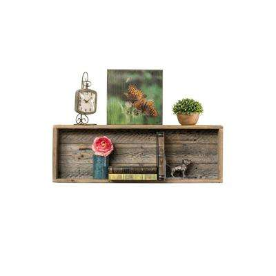 Long Shadowbox 4in x 30in x 10.5in Natural Reclaimed Wood Decorative Cubby Wall Shelf