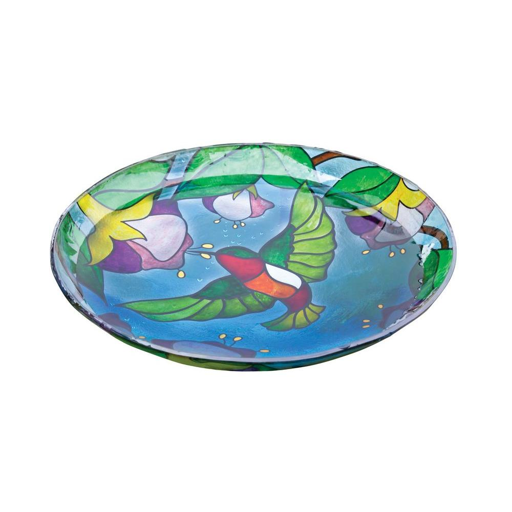 Evergreen Enterprises Hummingbird Grandeur Stained Glass Birdbath