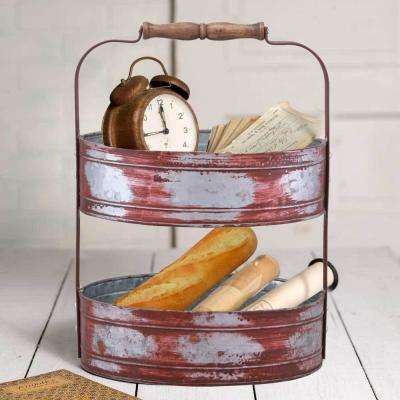 Country Style 2-Tiered Red and Gray Galvanized Iron Tray