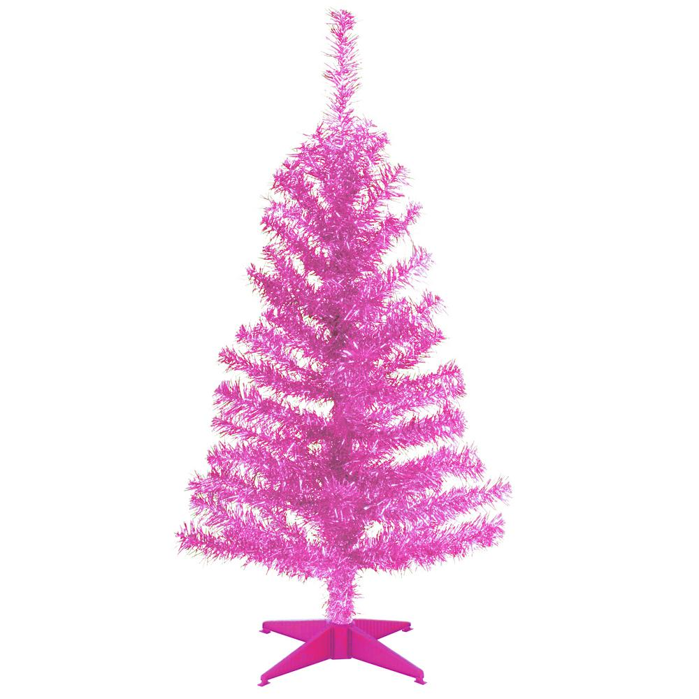 pink tinsel artificial christmas tree