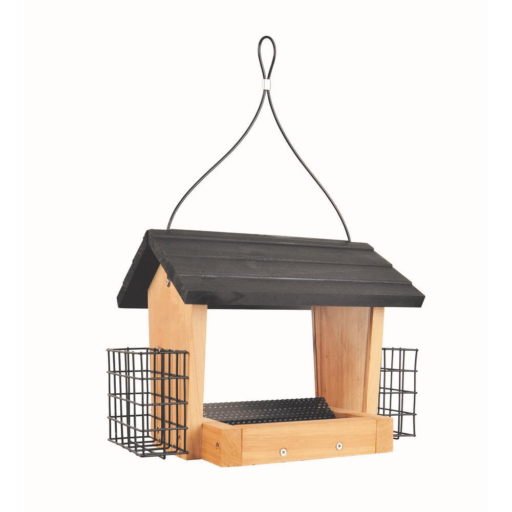 3 Qt. Cedar Hopper with Suet Wild Bird Feeder