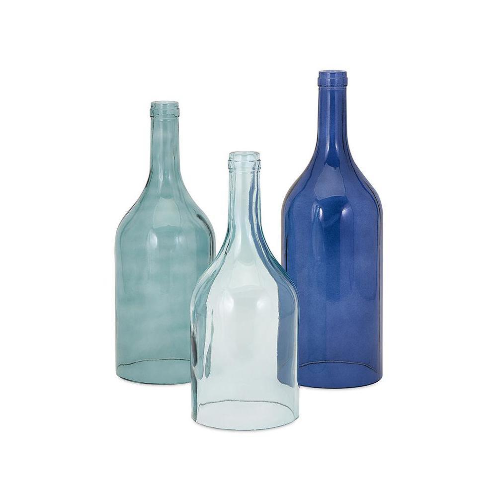 Monteith Blue Glass Cloche Bottles (Set of 3)