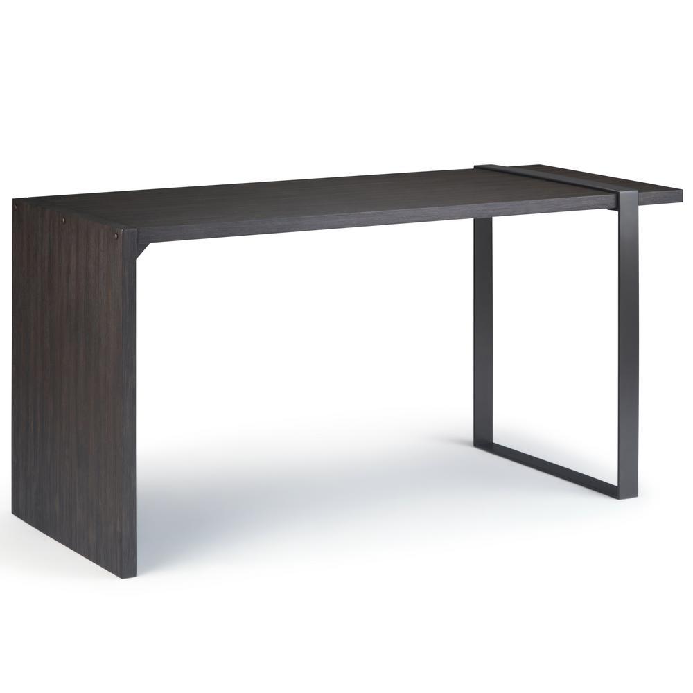 Montgomery Solid Acacia Wood and Metal Modern Industrial 60 in. Wide Desk in Distressed Dark Brown