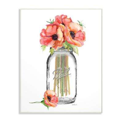 "12.5 in. x 18.5 in. ""Mason Jar Poppies"" by Amanda Greenwood Printed Wood Wall Art"