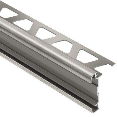 Rondec-CT Brushed Nickel Anodized Aluminum 3/8 in. x 8 ft. 2-1/2 in. Metal Double-Rail Bullnose Tile Edging Trim
