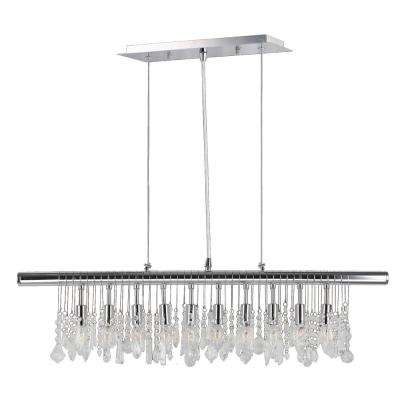 Nadia Collection 10-Light Polished Chrome Pendant with Clear Crystal Linear