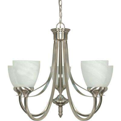 5-Light Ceiling Brushed Nickel Incandescent Chandelier