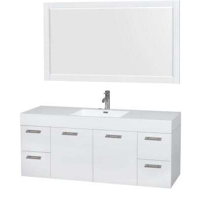 Amare 60 in. Vanity in Glossy White with Acrylic-Resin Vanity Top in White, Integrated Sink and 58 in. Mirror