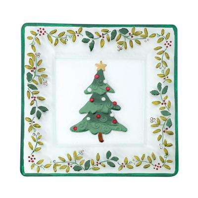 Assorted Square Glass Christmas Tree Platter