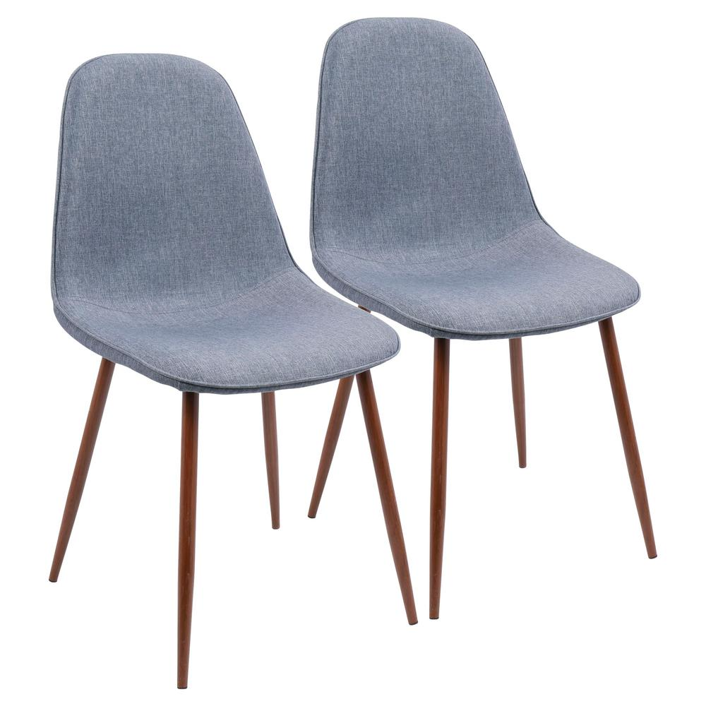 Superieur Lumisource Pebble Walnut And Blue Dining/Accent Chair (Set Of 2)