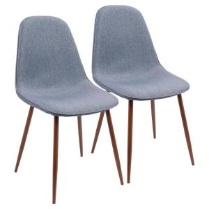Cool Lumisource Pebble Walnut And Blue Dining Accent Chair Set Short Links Chair Design For Home Short Linksinfo