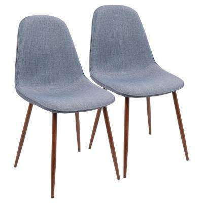 Pebble Walnut and Blue Dining/Accent Chair (Set of 2)