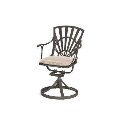 Largo Taupe All-Weather Patio Swivel Dining Chair with Natural Cushion