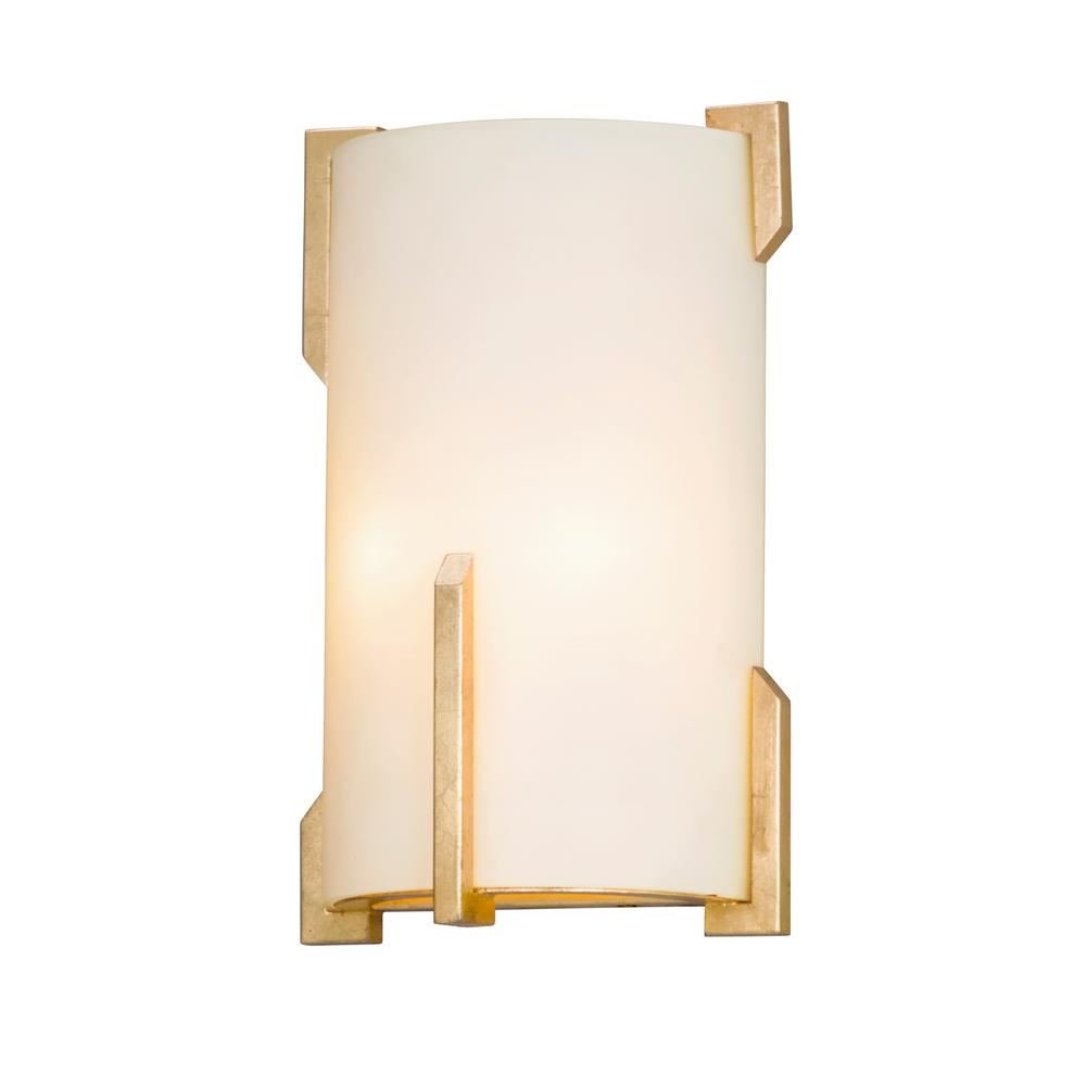troy lighting quantum 2 light gold leaf wall mount sconce b5234