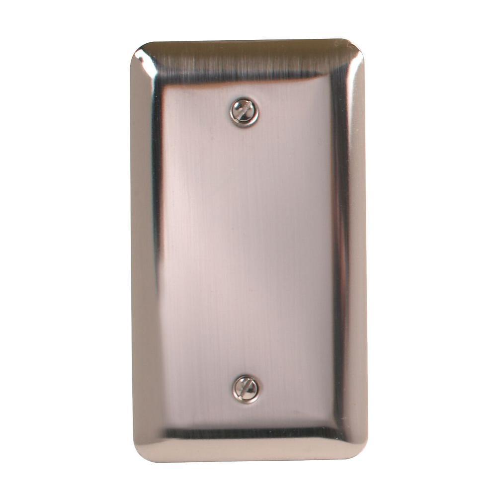 Amerelle Steel 1 Blank Wall Plate - Pewter