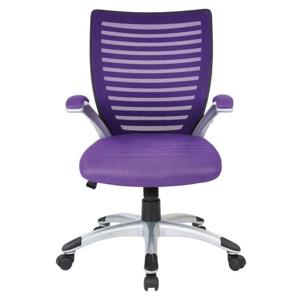 Office Star Products Purple Manager S Chair With Padded Silver Arms And Nylon Base Emh69096 512 The Home Depot