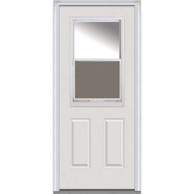 34 in. x 80 in. Vented Left-Hand Inswing 1/2-Lite Clear Glass 2-Panel Primed Fiberglass Smooth Prehung Front Door