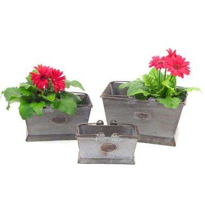 Iron Rectangular Planters with Moving Handles (3-Pack)