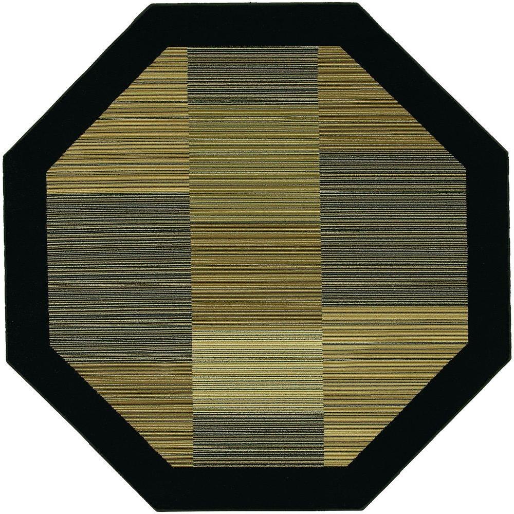 Couristan Everest Hampton's Multi Stripe Black 5 ft. 3 in. x 5 ft. 3 in. Octagon Area Rug