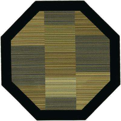Everest Hampton's Multi Stripe Black 5 ft. 3 in. x 5 ft. 3 in. Octagon Area Rug
