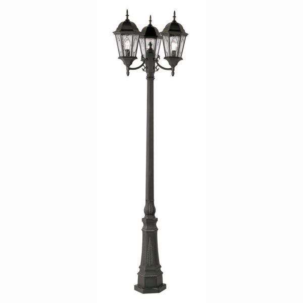Cameo 3-Light Outdoor Black Lamp Post with Water Glass