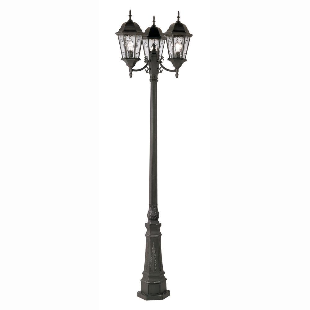 Bel Air Lighting Cameo 3 Light Outdoor Black Lamp Post With Water Gl