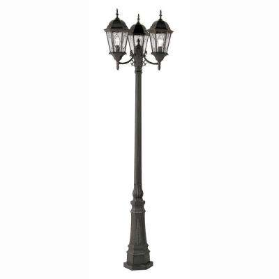 Cameo 3 Light Outdoor Black Lamp Post With Water Glass