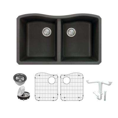 Aversa All-in-One Undermount Granite 32 in. Equal Double Bowl Kitchen Sink in Black