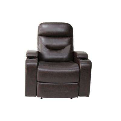 Springfield Java Recliner Chair with LED Cup-Holder and Storage Faux Leather