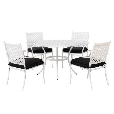 Seattle White 5-Piece Metal Lattice Outdoor Dining Set with Black Seat Cushions