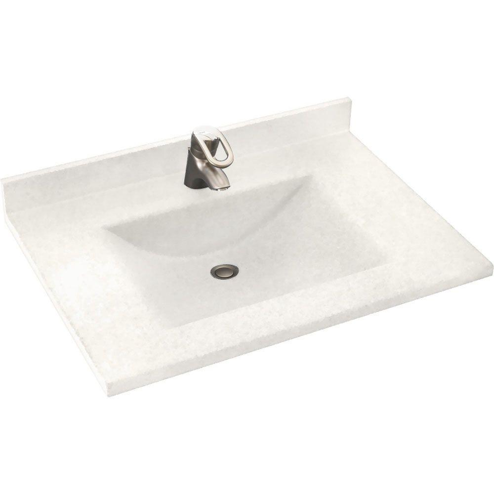 Swanstone Contour 31 in. Solid Surface Vanity Top with Basin in Tahiti Ivory
