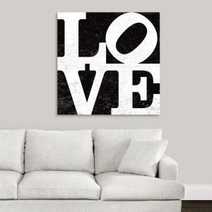 36 In X 36 In Love Type Black By Peter Horjus Canvas Wall Art