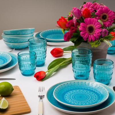 Fez 16-Piece Patterned Turquoise/Reactive Crackle-glaze Stoneware Dinnerware Set (Service for 4)