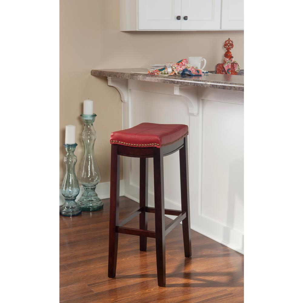 Outstanding Details About Claridge 32 In Red Cushioned Bar Stool Patch Designed Top By Linon Home Decor Unemploymentrelief Wooden Chair Designs For Living Room Unemploymentrelieforg