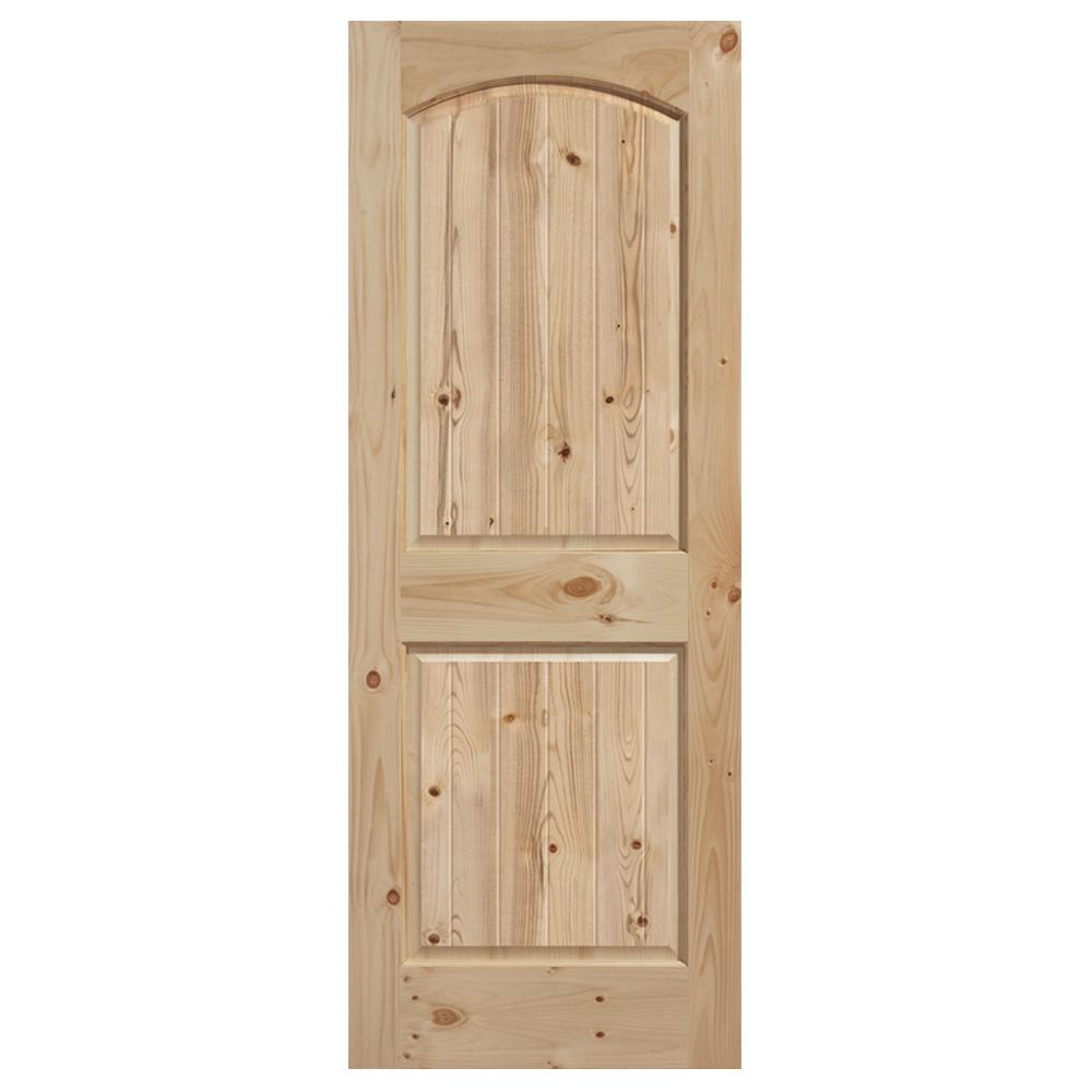 28 in. x 80 in. Smooth Unfinished 2 Panel V-Groove Solid