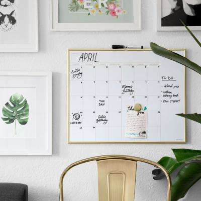 20 in. x 16 in. Gold Aluminum Frame Magnetic Monthly Calendar Dry Erase Board