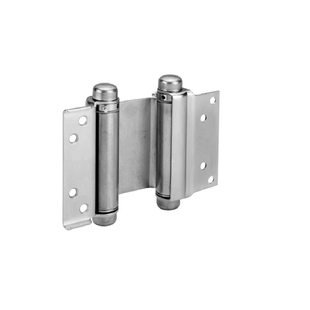 Taco 5 in. Double Acting Spring Hinge in Galvan Neal (Set of 2) The Trans Atlantic 5 in. double acting spring hinge is made to strict specifications for exceptional quality. These hinges are recommended for use when automatic self closing of a door is required. Double acting spring hinges are also used for doors that need to open in both directions and return automatically to center such as cafe doors.