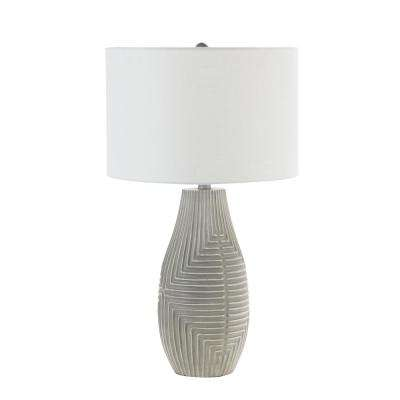 Teller 26 in. Gray Embossed Global Table Lamp with Shade