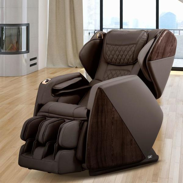 Pro Series Soho Brown Faux Leather Reclining Massage Chair with Bluetooth Speakers and 4D Massage