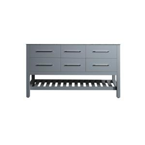 59 inch Main Cabinet Only in Gray with Matte/Polished Chrome Hardware