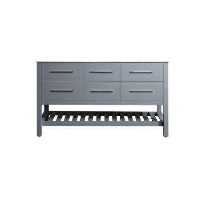 Bosconi 59 in. Main Cabinet Only in Gray with Matte/Polished Chrome Hardware