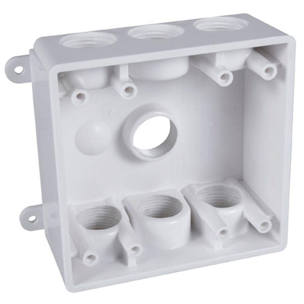 BELL 2-Gang Weatherproof Box with Seven 1/2 in. or 3/4 in. Outlets ...